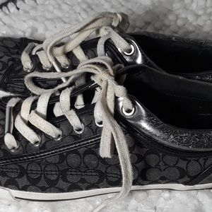 Coach Womens Sneakers Signature Logo sz 8 Black